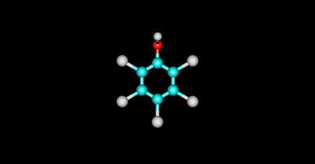 disinfectant: Pentachlorophenol or PCP is an organochlorine compound used as a pesticide and a disinfectant. 3d illustration of Pentachlorophenol.