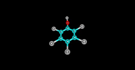 desinfectante: Pentachlorophenol or PCP is an organochlorine compound used as a pesticide and a disinfectant. 3d illustration of Pentachlorophenol.