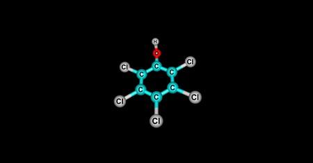 desinfectante: Pentaclorofenol o PCP es un compuesto organoclorado utilizado como pesticida y un desinfectante. 3d ilustración de pentaclorofenol. Foto de archivo
