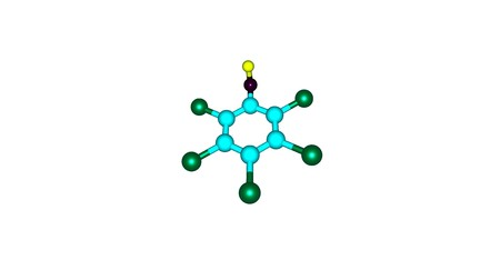 antiseptic: Pentachlorophenol or PCP is an organochlorine compound used as a pesticide and a disinfectant. 3d illustration of Pentachlorophenol.