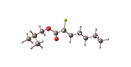 Chloroheptanoate is a branched alkane with chlorine. It is moderately toxic. 3d illustration