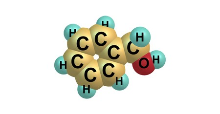 odor: Benzyl alcohol is an aromatic alcohol with the formula C6H5CH2OH. It is a colorless liquid with a mild pleasant aromatic odor. 3d illustration Stock Photo