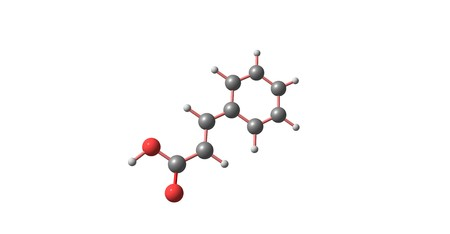 organic compound: Cinnamic acid is an organic compound with the formula C6H5CHCHCO2H. It is a white crystalline compound that is slightly soluble in water, and freely soluble in many organic solvents. 3d illustration Stock Photo