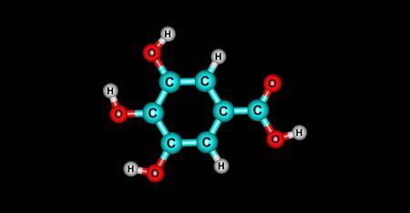 gallic: Gallic acid is a trihydroxybenzoic acid, a type of phenolic acid, found in gallnuts, sumac, witch hazel, tea leaves, oak bark, and other plants. 3d illustration