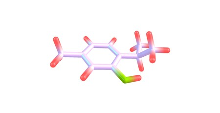 structural formula: Thymol or 2-isopropyl-5-methylphenol is a natural monoterpene phenol derivative of cymene, C10H14O, isomeric with carvacrol, found in oil of thyme. 3d illustration