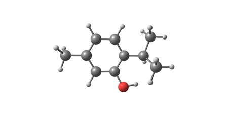 fungicide: Thymol or 2-isopropyl-5-methylphenol is a natural monoterpene phenol derivative of cymene, C10H14O, isomeric with carvacrol, found in oil of thyme. 3d illustration
