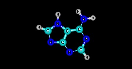 thymine: Adenine molecular structure isolated on black Stock Photo