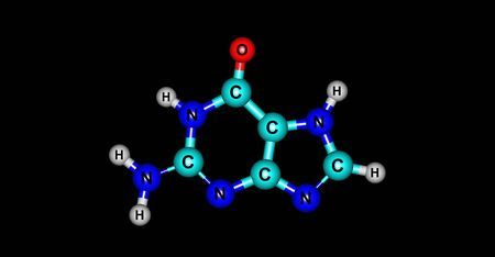 purine: Guanine molecular structure isolated on black