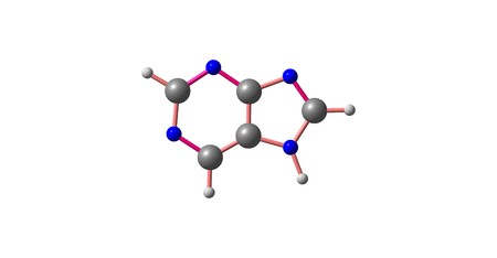 purine: Purine is a heterocyclic aromatic organic compound that consists of a pyrimidine ring fused to an imidazole ring. Purine gives its name to the wider class of molecules, purines. 3d illustration