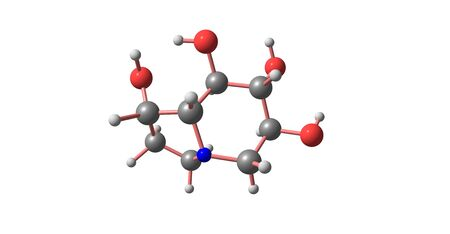 Castanospermine is an indolizidine alkaloid. It is a potent inhibitor of some glucosidase enzymes and has antiviral activity. 3d illustration