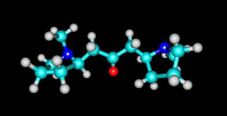 Cuscohygrine molecular structure isolated on black Stock Photo