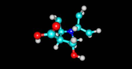 Ecgonine molecular structure isolated on black