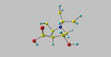 Ecgonine molecular structure isolated on grey