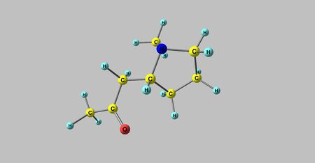 Hygrine molecular structure isolated on grey