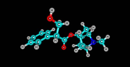alkaloid: Hyoscyamine or daturine is a tropane alkaloid. It is a secondary metabolite found in certain plants of the family Solanaceae. 3d illustration Stock Photo