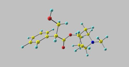 belladonna: Hyoscyamine or daturine is a tropane alkaloid. It is a secondary metabolite found in certain plants of the family Solanaceae. 3d illustration Stock Photo