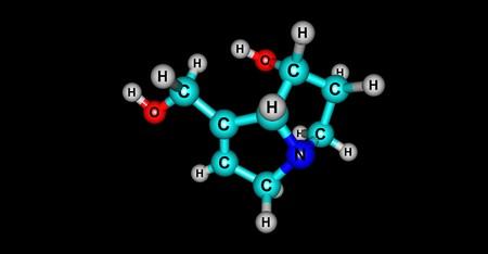 Retronecine is a pyrrolizidine alkaloid found in a variety of plants in the genera Senecio. 3d illustration