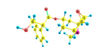 anticholinergic: Scopolamine molecular structure isolated on white