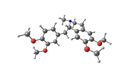 Laudanosine or N-methyltetrahydropapaverine is a recognized metabolite of atracurium and cisatracurium. Laudanosine decreases the seizure threshold. 3d illustration Standard-Bild