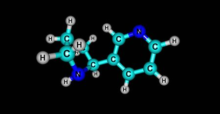 found it: Nornicotine is an alkaloid found in various plants including Nicotiana, the tobacco plant. It is chemically similar to nicotine, but does not contain a methyl group. 3d illustration Stock Photo