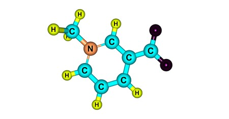 alkaloid: Trigonelline is an alkaloid with chemical formula C7H7NO2. It is a zwitterion formed by the methylation of the nitrogen atom of niacin or vitamin B3. 3d illustration
