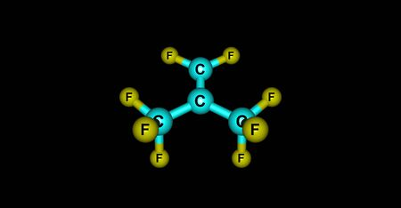 Perfluoroisobutene or PFIB is a fluorocarbon alkene. It is a hydrophobic reactive gas with boiling point at 7 degree. It is a strong electrophile. 3d illustration Banco de Imagens