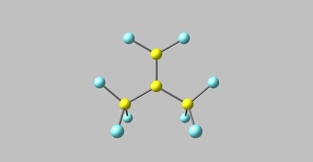 Perfluoroisobutene or PFIB is a fluorocarbon alkene. It is a hydrophobic reactive gas with boiling point at 7 degree. It is a strong electrophile. 3d illustration Stock Photo