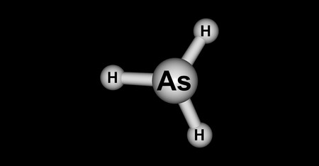 Arsine or Arsane is an inorganic compound with the formula AsH3. This flammable, pyrophoric, and highly toxic pnictogen hydride gas is one of the simplest compounds of arsenic. 3d illustration