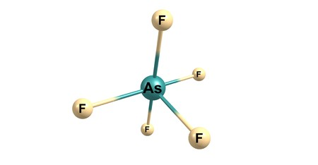 Arsenic pentafluoride molecular structure isolated on white