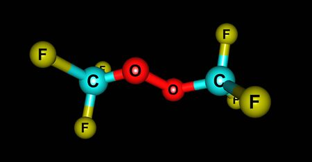 peroxide: Bistrifluoromethylperoxide or BTP is a fluorocarbon derivative. It has recently been discovered that it is a good initiator for the polymerization of unsaturated ethylene-like molecules. It produces good quality polymers. 3d illustration