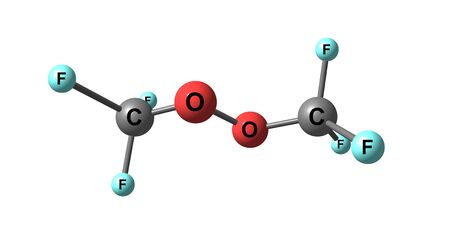 peroxide: Bistrifluoromethylperoxide molecular structure isolated on white