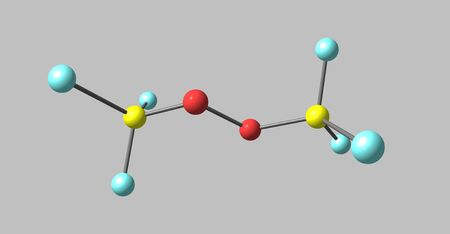 initiator: Bistrifluoromethylperoxide or BTP is a fluorocarbon derivative. It has recently been discovered that it is a good initiator for the polymerization of unsaturated ethylene-like molecules. It produces good quality polymers. 3d illustration