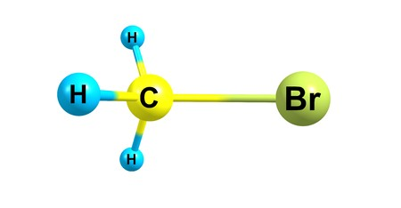 Bromomethane or methyl bromide is an organobromine compound with formula CH3Br. It is colorless, odorless, nonflammable gas. 3d illustration