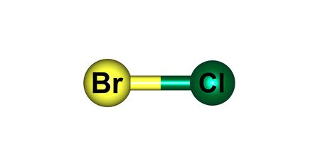 Bromine monochloride or bromochloride is an interhalogen inorganic compound with chemical formula BrCl. 3d illustration Stock Photo