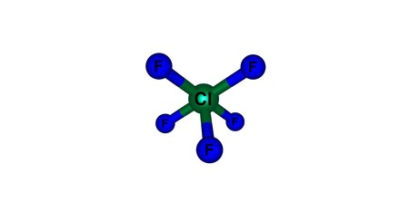 oxidizer: Chlorine pentafluoride is an interhalogen compound with formula ClF5. This colourless gas is a strong oxidant. The molecule adopts a square pyramidal structure. 3d illustration