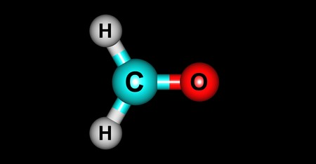 aldehyde: Formaldehyde is a naturally occurring organic compound with the formula CH2O. It is the simplest of the aldehydes. 3d illustration Stock Photo