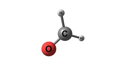 Formaldehyde is a naturally occurring organic compound with the formula CH2O. It is the simplest of the aldehydes. 3d illustration Stock Photo