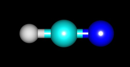 boils: Hydrogen cyanide or Formonitrile is a chemical compound with the chemical formula HCN. It is a colorless, extremely poisonous and flammable liquid that boils slightly above room temperature. 3d illustration