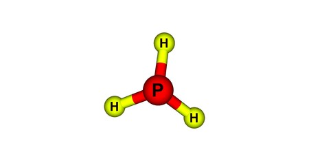 Phosphine or phosphane is the compound with the chemical formula PH3. It is a colorless, flammable, toxic gas and pnictogen hydride. 3d illustration