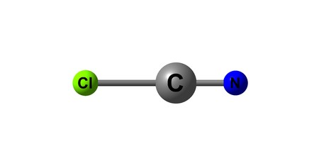 Cyanogen chloride is an organic compound with the formula NCCl. This linear, triatomic pseudohalogen is an easily condensed colorless gas. 3d illustration