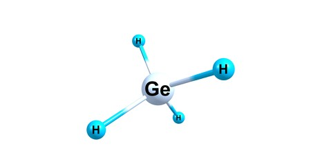 reagent: Germane is the chemical compound with the formula GeH4, and the germanium analogue of methane. It is the simplest germanium hydride and one of the most useful compounds of germanium. 3d illustration