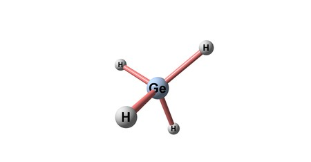 hydride: Germane is the chemical compound with the formula GeH4, and the germanium analogue of methane. It is the simplest germanium hydride and one of the most useful compounds of germanium. 3d illustration