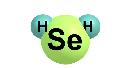 reagent: Hydrogen selenide is an inorganic compound with the formula H2Se. This hydrogen chalcogenide is the simplest and most commonly encountered hydride of selenium. 3d illustration