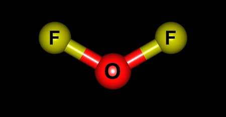 oxidizer: Oxygen difluoride is the chemical compound with the formula OF2. It is a strong oxidizer. 3d illustration
