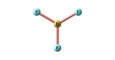Boron trifluoride is the inorganic compound with the formula BF3. This pungent toxic gas forms white fumes in moist air. It is a versatile building block for other boron compounds. 3d illustration Stock Photo