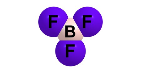 reagent: Boron trifluoride is the inorganic compound with the formula BF3. This pungent toxic gas forms white fumes in moist air. It is a versatile building block for other boron compounds. 3d illustration Stock Photo