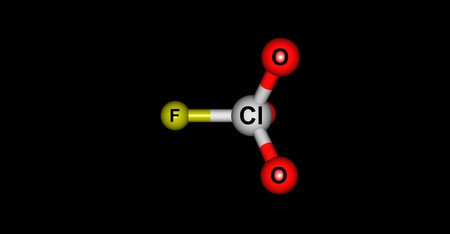 oxidizing: Perchloryl fluoride is a reactive gas with the chemical formula ClO3F. It has a characteristic sweet odor that resembles gasoline. It is a toxic oxidizing and fluorinating agent. 3d illustration
