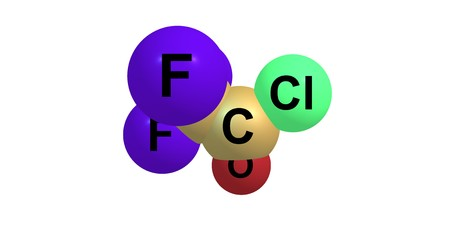 Trifluoroacetyl chloride or TFAC is a gaseous chemical compound with the chemical formula C2ClF3O. It is usually shipped as a liquid under high pressure. The compound is a toxic gas. 3d illustration Stock Photo