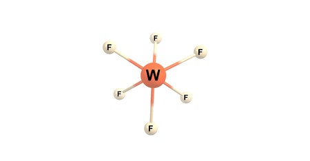 colorless: Tungsten fluoride or tungsten hexafluoride is the inorganic compound of tungsten and fluorine with the formula WF6. This corrosive, colorless compound is a gas. 3d illustration Stock Photo