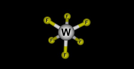 Tungsten fluoride or tungsten hexafluoride is the inorganic compound of tungsten and fluorine with the formula WF6. This corrosive, colorless compound is a gas. 3d illustration Stock Photo